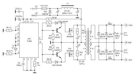 Dc To Dc Converter 12v To 38v Power Supply Circuits Car Amplifier Power Supply Circuit Power Supply Design