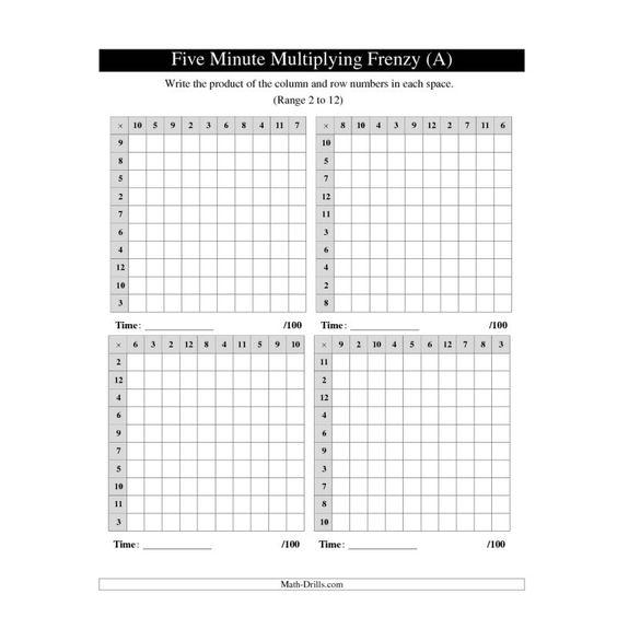 Multiplication Worksheet -- Five Minute Multiplying Frenzy -- Four ...