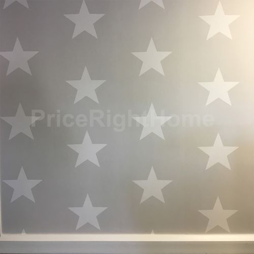 AS CREATION GLOW IN THE DARK STARS WALLPAPER FEATURE WALL GREY TAUPE WHITE