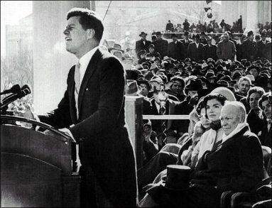President John F. Kennedy delivering his inaugural address in 1961: