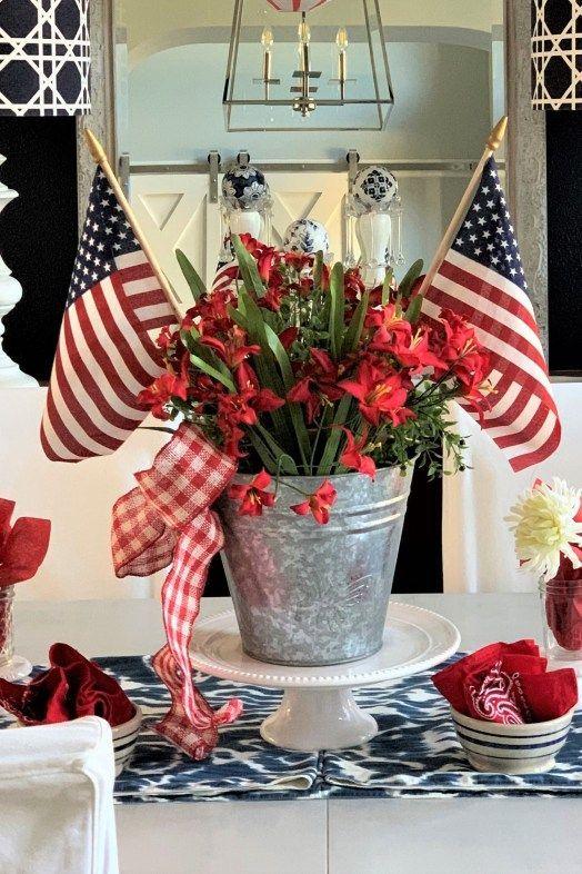 14 Easy Patriotic Memorial Day Decorating Ideas Fourth Of July Decor Patriotic Table Decorations Patriotic Decorations