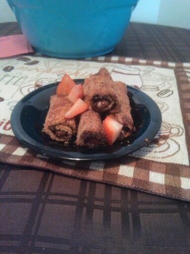 Nutella strawberry french toast roll ups.. So yummy! Babes loved them!