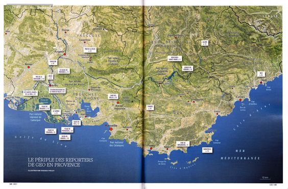 Places of interest in Provence (France). Map created by Hugues Piolet for GEO Magazine.