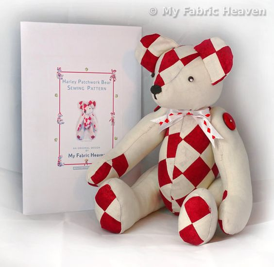 "Harley 14"" Patchwork Teddy Bear Sewing PATTERN & Full Easy To Follow Instructions"