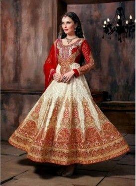 Tunique Kalidar Couleur Blanc Cassé Tenue de Concepteur Indien en Art de Soie et…