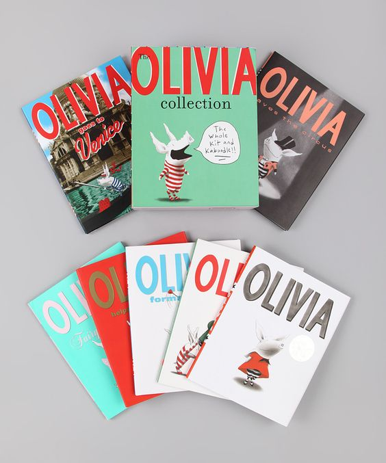 Olivia books- awesome illustration, simple, with pop of colors. love stripes. cute