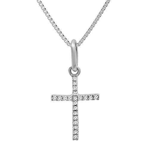 14K White .025 CTW Diamond Cross Pendant