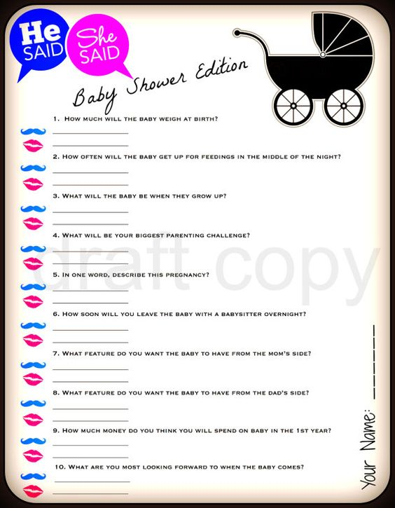 He Said She Said Baby Shower Game Instant By 31Flavorsofdesign | Crafted |  Pinterest | Baby Shower Games, Gaming And Babies