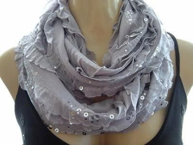 Glamorous Gray,Silver gray ruffled infinity scarf, Necklace Scarf,Silver dusted,sequined