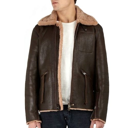 Acne Brown Leather Sheepskin Flight Jacket. | Mens rugged fashion