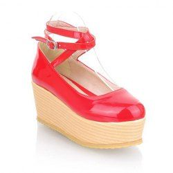 $21.65 Casual Women's Spring Platform Shoes With Patent Leather and Cross Straps Design