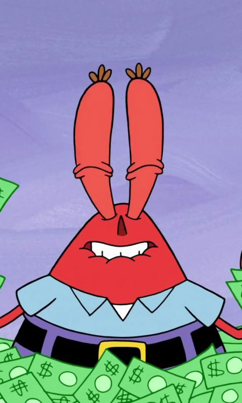 Mr Krabs Spongebob Squarepants Tv Series Cartoon Money