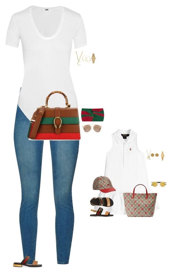 """Gucci Babes"" by stylebyfashionmerger ❤ liked on Polyvore featuring French Connection, Helmut Lang, Gucci, Christian Dior, Bloomingdale's, Lulu Frost, Miriam Haskell, Lana and Rolex"