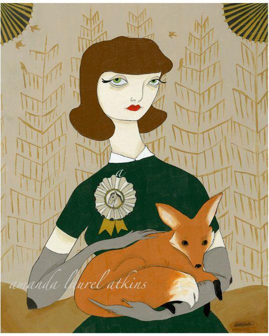 """Depending upon the nature of the beast""  acrylic on masonite  c Amanda Laurel Atkins 2011"