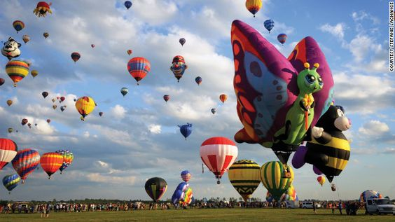 The balloons at the International Balloon Festival of Saint-Jean-sur-Richelieu in Quebec come in many shapes.