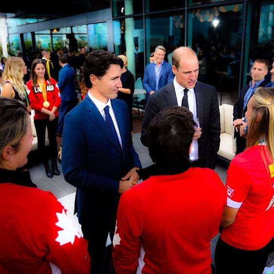 His Royal Highness, Prince William, Duke of Cambridge meets members of the Canadian Olympic rugby team with Prime Minister Justin Trudeau during a reception celebrating young Canadian leaders in art, music, sport, charity, business and film at Telus Gardens in Vancouver, British Colombia, Canada, on day two of his seven day tour of Canada on behalf of Her Majesties Government. || 25th September 2016 ------------------------------------------------ #KateMiddleton #CatherineMiddleton…