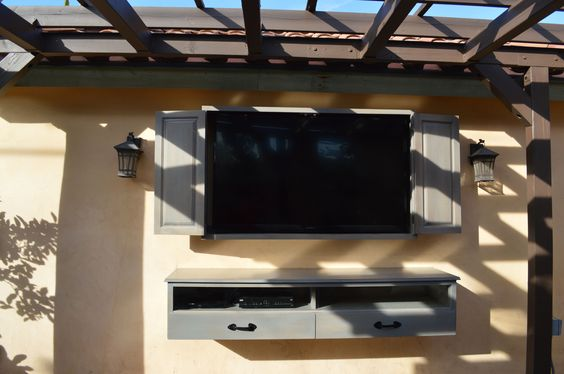 Exterior furniture creative outdoor tv cabinet for for Cool tv wall mounts