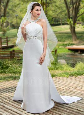 Jacka Grimma Watteau släp Löstagbar Satäng Bröllopsklänning med Rufsar…