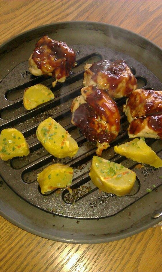 You can also bake with the PAN Grill-it Basted with BBQ sauce chicken thighs and potatoes sprinkled w/ Parm & Rosemary.