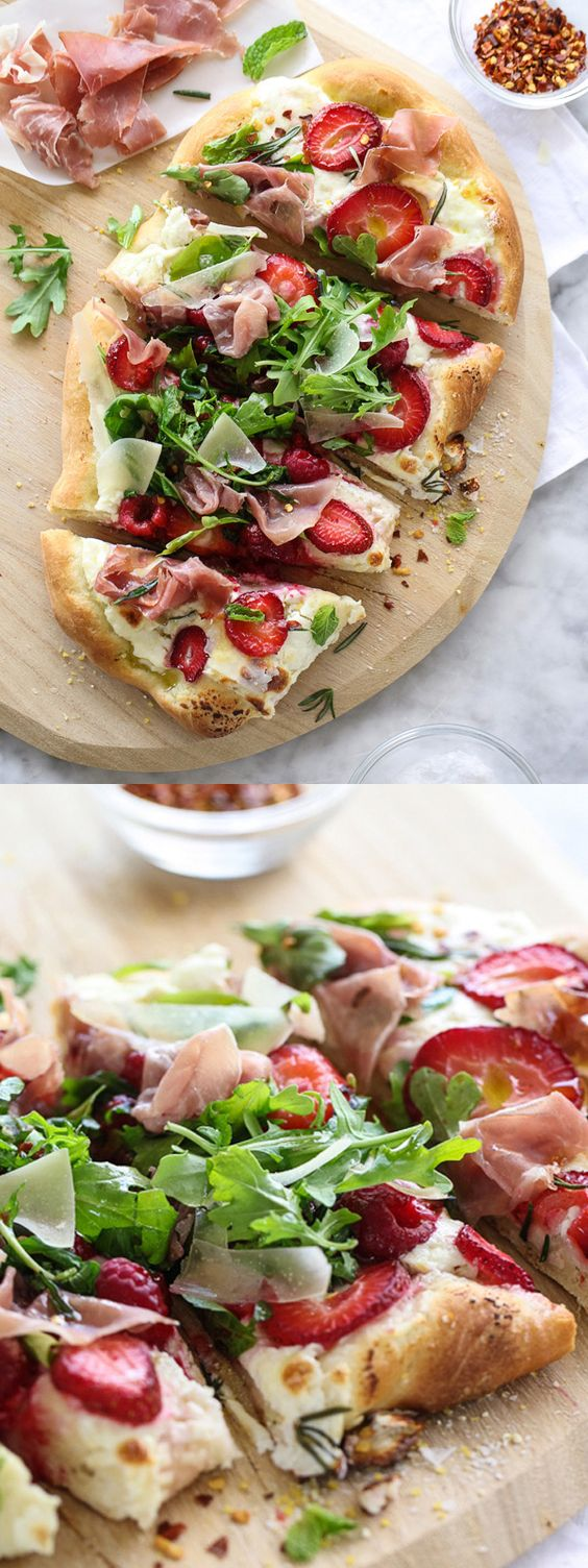 Prosciutto Pizza with Berries and Arugula is salty, sweet and a favorite dinner treat   foodiecrush.com