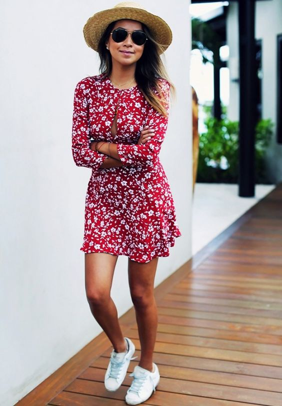 dress and whit sneakers: