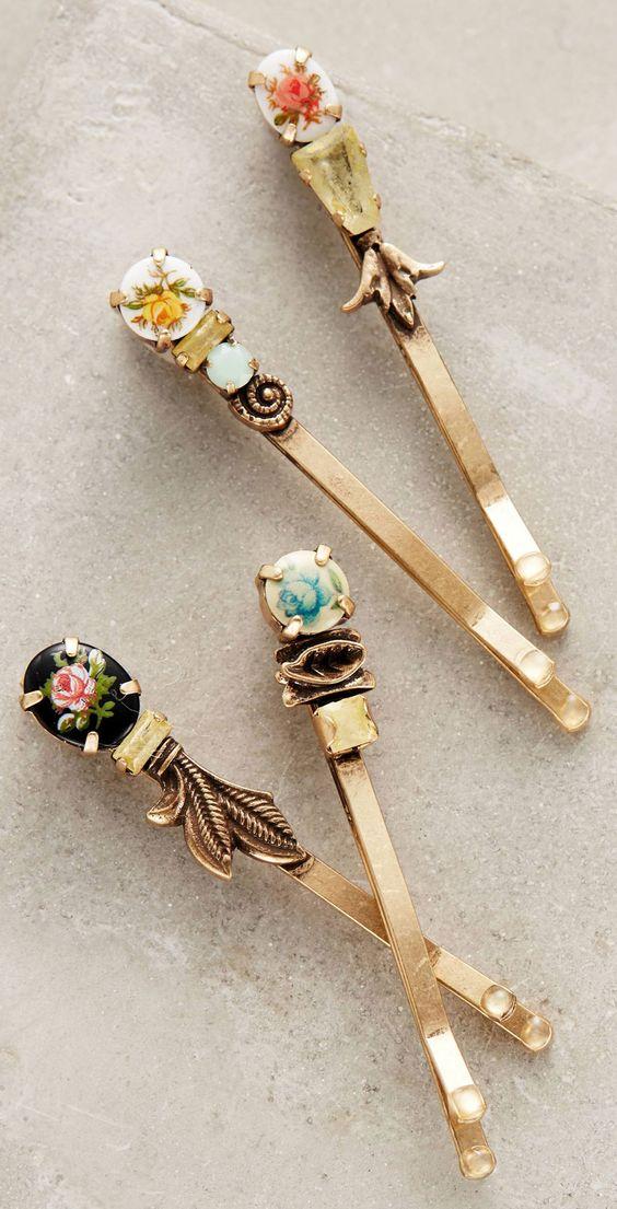 Vintage floral bobby pins