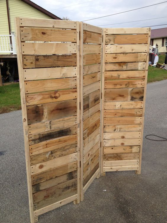 Handmade primitive room divider movable wall screen for Movable pallets