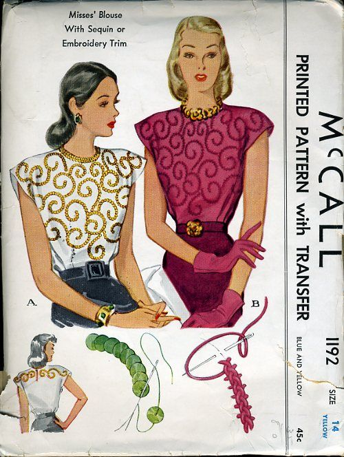 McCall 1192 ©1945 Blouse with Sequin Trim