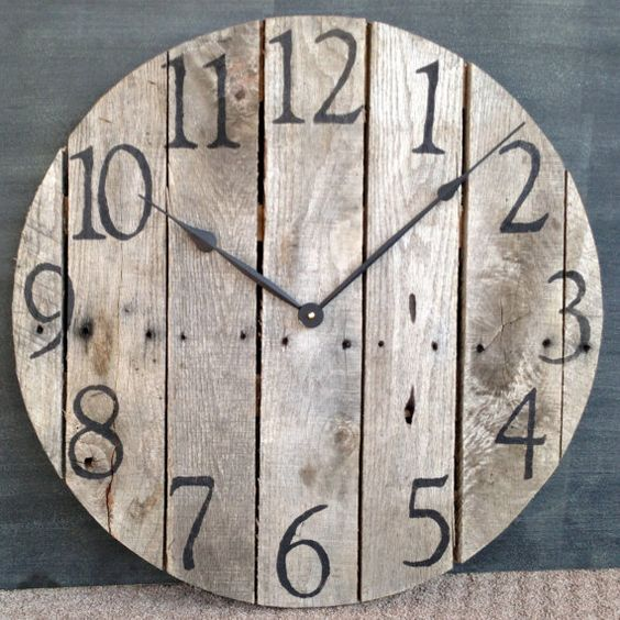 Horloge murale bois grande palette rustique cr ation - Grande horloge murale bois ...