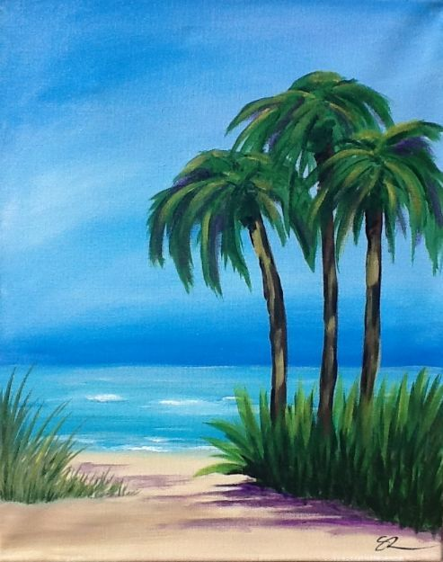Gallery wine and palette painting classes parties for Painting palm trees