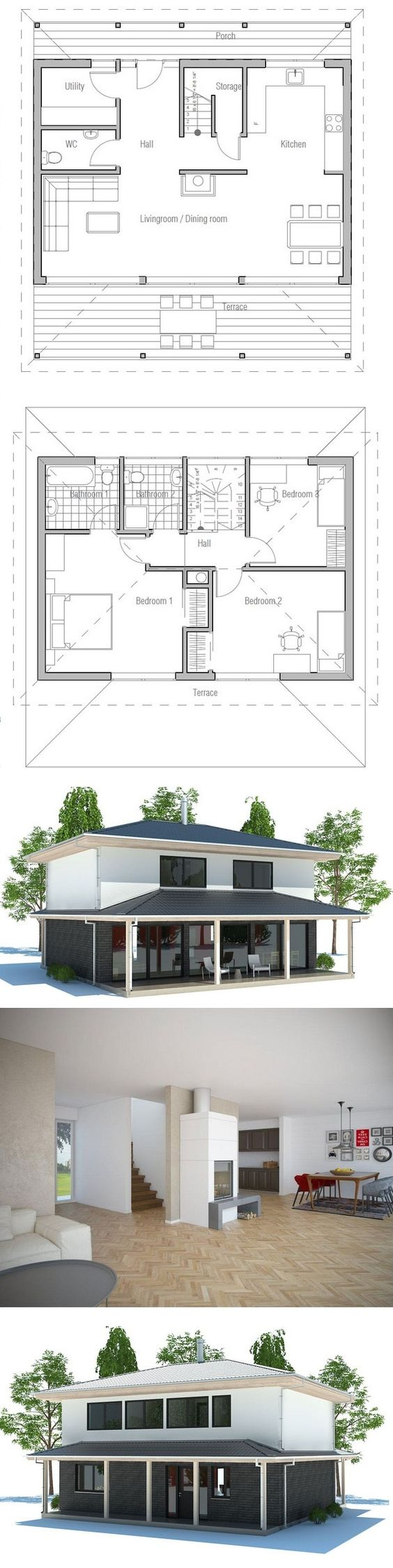 House Plan, Floor Plan from ConceptHome.com - would change the 2 bathrooms around tho.