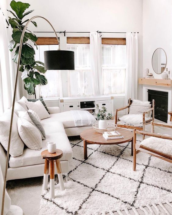 Non Traditional Living Room With A Fluffy Wool Rug Which Looks Great With Th White Living Room Decor Scandinavian Decor Living Room Beige And White Living Room
