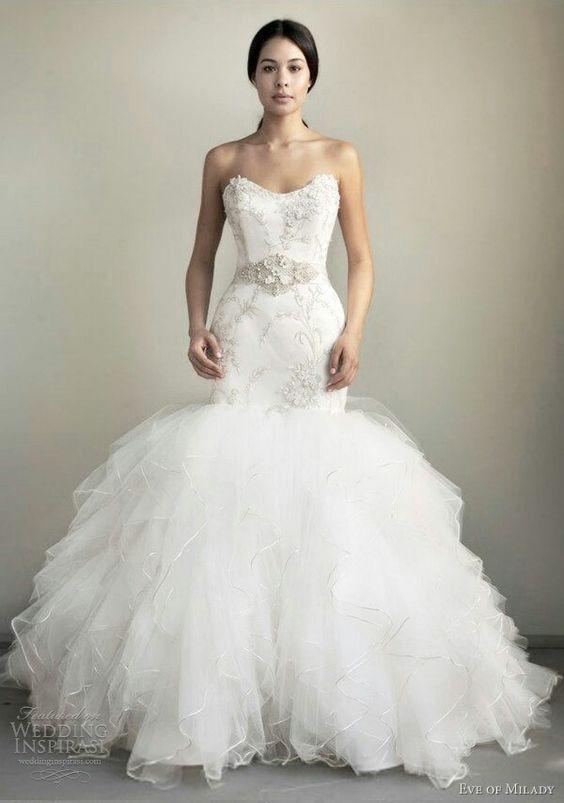Mermaid wedding dress big puffy with bling wedding for Mermaid style wedding dresses with bling