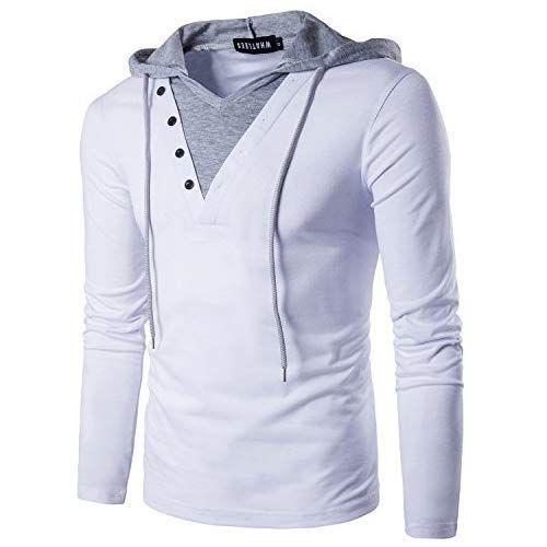 WHATLEES Mens Casual Slim Fit Long Sleeve V Neck T Shirt