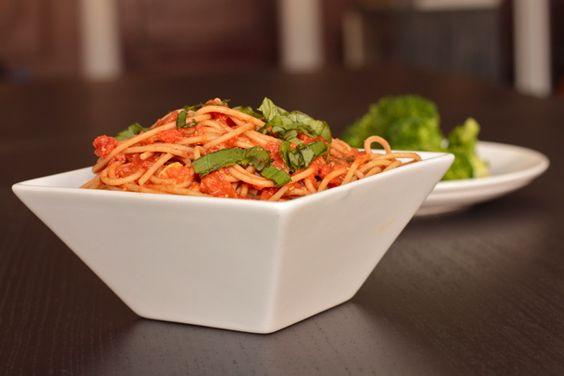 pasta with spicy romesco marinara sauce