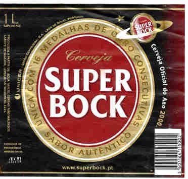 Das Haupt-Etikett der besten Alternative zum Sagres-Bier - dem Super Bock. Allein wegen seines Namens nicht zuletzt bei männlichen Trinkern ...