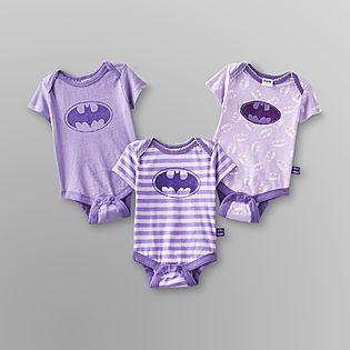 DC Comics Batman -Infant Girl's Bodysuit - 3-Pack