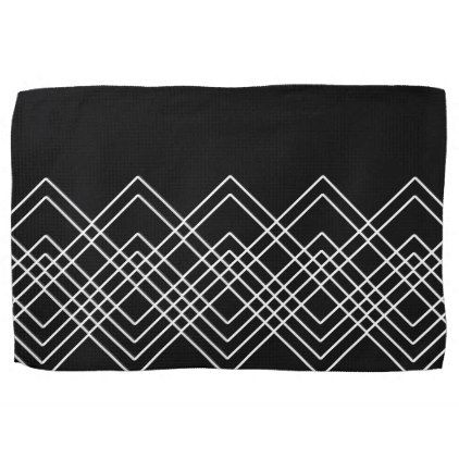 Black Abstract Geometric Pattern Black And White Kitchen