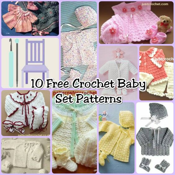 10 Free Crochet Baby Set Patterns - Free Crochet Patterns - (thelavenderchair):