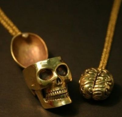 Skull and brain necklaces.