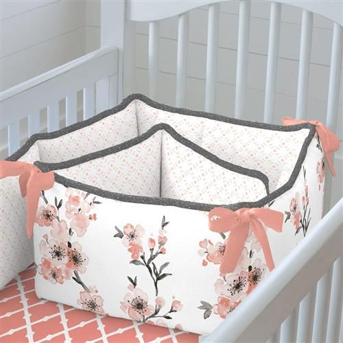 Carousel Designs Light Coral Cherry Blossom Cradle Bumper