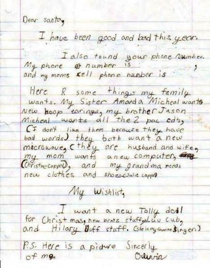 Funny Letters To Santa From Kids: