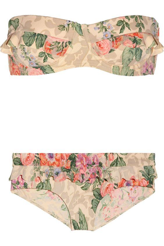 Zimmermann Devoted floral-print ruffled bikini