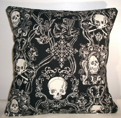 "New Black Toile Skulls Cushion Cover 16""X16"" 