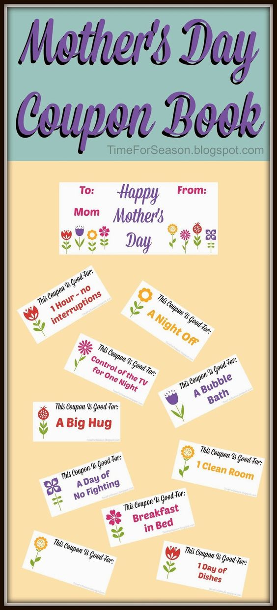 free mothers day coupon book printable mom gift for mother a time for seasons a time for. Black Bedroom Furniture Sets. Home Design Ideas
