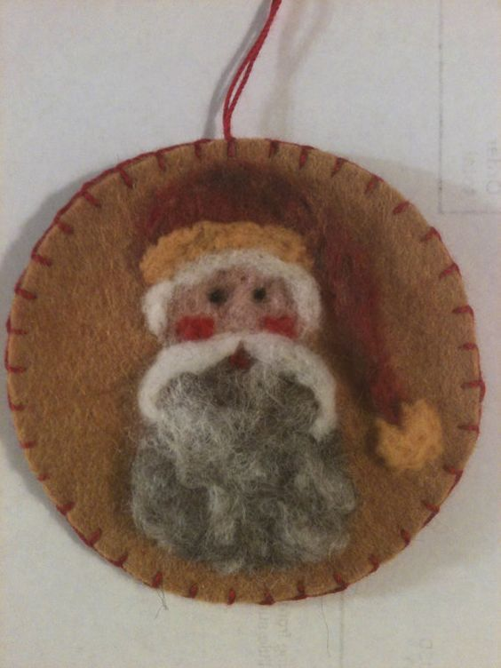 Needle Felted Santa Face with Red Variegated Hat by Sita802, $6.00