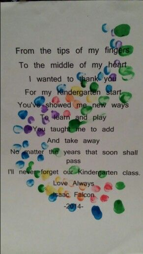 Isaac's farewell gift to his kindergarten teacher. He loved the finger painting part!