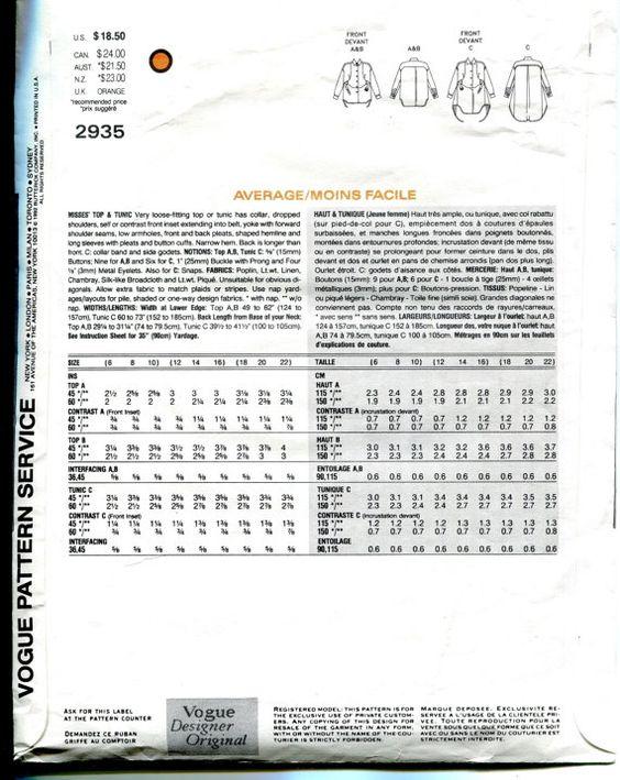 SEWING PATTERN - VOGUE 2935 ISSEY MIYAKE VOGUE DESIGNER ORIGINAL MISSES TOP…