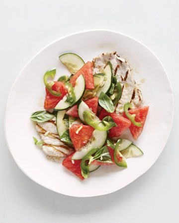 Grilled Pork Cutlets with Watermelon-Cucumber Salad, Wholeliving.com