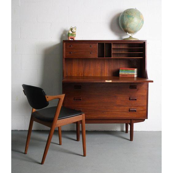 Image of 1960s Danish Modern Teak Secretary Desk